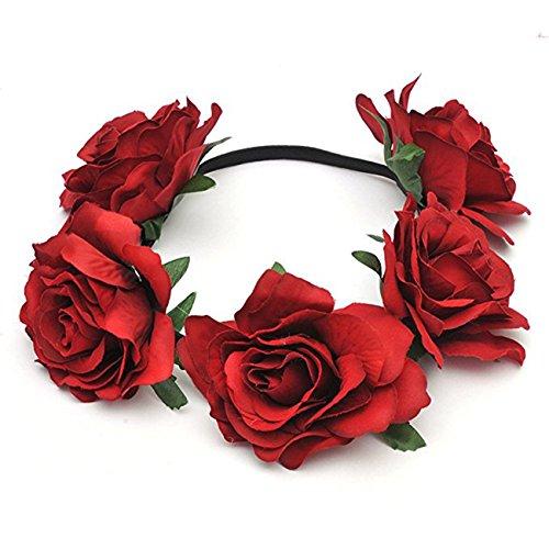 DRESHOW Blume Stirnband Crown Hawaiian Stretch Rose Floral Haarband Zubehör für Frauen Hochzeit Girlande Party