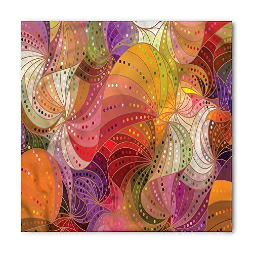 Modern Bandana, Rainbow Colored Swirls Dots, Unisex Head and Neck Tie 100x100cm -