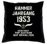 Soreso Design Geschenk 65. Geburtstag Jahrgang 1953 Geschenkidee Geburtstagsgeschenk Männer Frauen Kissen 40 x 40 cm Farbe: schwarz