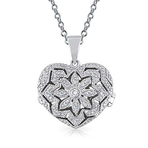 Vintage-Stil Herzform Floral Medaillon Anhänger Filigrane Zirkonia CZ Halskette Für Damen 18 In Sterling Silber Kette -