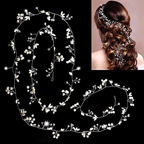 Schmuck für die Hochzeit,Yosemy Perlen Stirnband Hochzeit Diadem Braut Tiara Brautjungfern Crystal Perlen Dekor Strass Kronen Haarspange Strassbesatz Haarband und Stirnband mit Kristall (Silber)