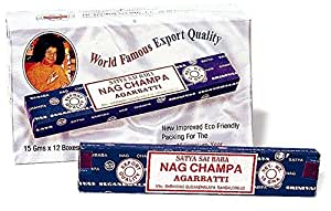 Nagchampa 89018020010230 Satya Sai Baba Räucherstäbchen, 6 boxes * 12 sticks: 72 stick, 15-90 g, schwarz, 1 x 1 x 1 cm