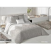 Textilhome - Funda Nórdica SIAN - Cama 150 - 240x260cm . Color Beige + 2 Fundas Cojín 60X60cm.
