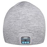 August EPA20 - Bluetooth Mütze - Winter Beanie mit Bluetooth Stereo Kopfhörer, Mikrofon, Freisprechen und integriertem Akku (Grau)