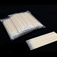 100pcs/Ensemble jetable Tampons de coton pointu Coton Tige Applicateur de maquillage 10cm
