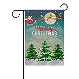 coosun Snowy Christmas Szene Weihnachtsmann in Schlitten mit Rentier Polyester Garten-Flagge im Flagge Home Party Garten Decor, doppelseitig, 71,1x 101,6cm, Polyester, mehrfarbig, 28x40(in)