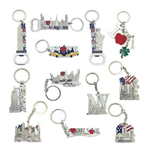 NYC Souvenir Collection Schlüsselanhänger-Set New York Metall inkl. Empire State, Freiheitsturm, Freiheitsstatue, USA Flagge, NY Cab, Apfel, Flaschenöffner und mehr, 12 Stück