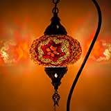 Handgefertigte Mosaik-Tischlampe, atemberaubender marokkanischer Stil, einzigartiger Globus Lampenschirm, Schwanenhals, Größe XL