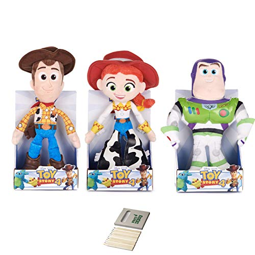 Price Toys Toy Story 4 Colección Suave del Juguete de Disney Pixar - Woody, Buzz Lightyear, Jessie, Bo Peep, Forky, Extranjero y Rex (zumbido / Woody / Jessie)
