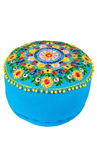 Orientalischer runder Pouf aus Baumwolle 50cm inklusive Füllung   Marokkanisches Sitzkissen Sitzpouf Kissen Jivan -1- ø 50cm Rund   Marokkanischer Hocker Sitzhocker Fusshocker bestickt