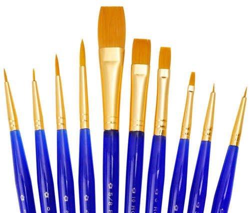 qualita-brush-set-di-10-pennelli-acquerello-sable-olio-e-acrilico