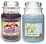 Official Yankee Candle Set Of 2 Large Jars Jelly Bean & Happy Spring Gift Set