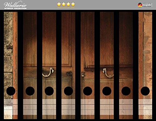 Wallario Ordnerrücken Sticker Holztür natur in Premiumqualität - Größe 8 x 3,5 x 30 cm, passend für 8 schmale Ordnerrücken (Panel Holz-tor)