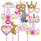 Partysanthe Unicorn Photobooth Props Birthday Decoration - Set of 13 Pieces