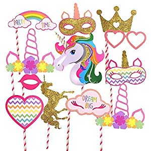 Partysanthe Unicorn Photobooth Props Birthday Decoration - Set of 13 Pieces