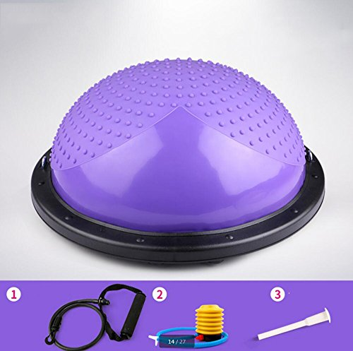 Wly&Home Balance Trainer Sport Bosu Core Training Air Dome/Balance Trainer (Home Edition) Mit Toning Tubes, Handy Pump Und Wall Chart,Purple