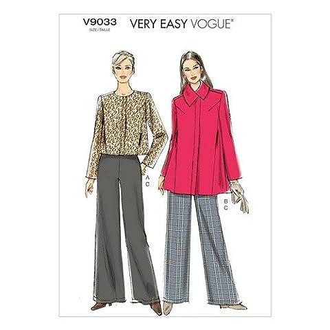 Vogue Patterns 9033 Tailles Y XS à 42 Patrons de veste et Pantalon pour femme