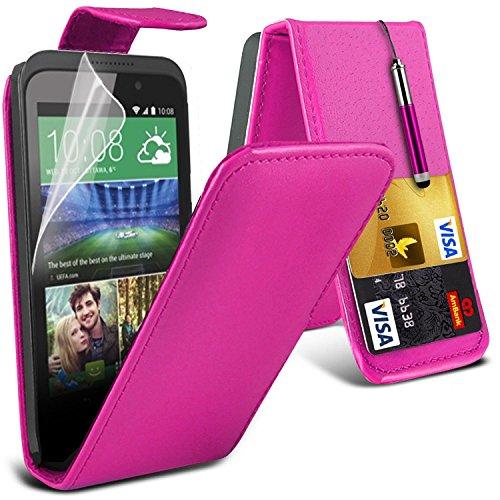 HTC Desire 320 Pink Farbe PU Lederetui Flip Hülle mit Displayschutz-Folie & Eingabestift Von Gadget Giant®