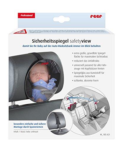 reer 8601 - Baby Rücksitzspiegel SafetyView für mehr Sicherheit im Auto, bruchsicher, ideal für Babyschalen und Reboarder-Kindersitze