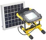 AGT LED Akkustrahler: Solar-LED-Baustrahler mit Akku, 4,5-Watt-Solarpanel, 10 Watt, 450 lm (Solar-Außen-Leuchte)
