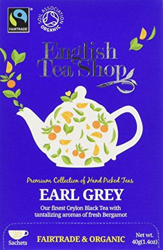 English Tea Shop Organic & Fairtrade Earl Grey - 20 Paper Tea bag Sachets (Pack of 3)