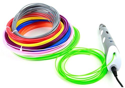DURAGADGET 10 Filamentos de colores para Impresora 3D BQ Witbox 2 |Anycubic i3 MEGA | Anet A8 | Prima Creator P120 | Geeetech | Anycubic Prusa I3 | XYZprinting | BQ Hephestos 2 - ¡10 metros de longitud!