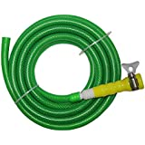 "TechnoCrafts PVC Braided Hose For Floor Care 5 Meter (16.5 Feet) 1/2"" (0.5 Inch Or 12.5mm) Bore Size - 3 Layered Hose Pipe With 1/2"" Tap Connector & Butterfly Clamps"