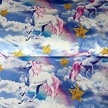 Jersey tela–unicornios nubes arco iris–Jersey Fabric- cre05–costura y ropa infantil tela–por medio metro–160cm de ancho