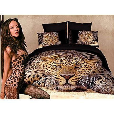 Algodón 3D cuatro set cama portadas edredón sólido animal de leopardo tigre hojas , 1 , 150cm