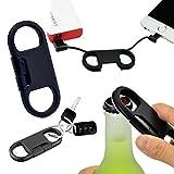 "Daite Portátil 8"" Llavero Lightning Cable USB para iPhone, iPad, iPod, con Abrebotellas(Negro )"