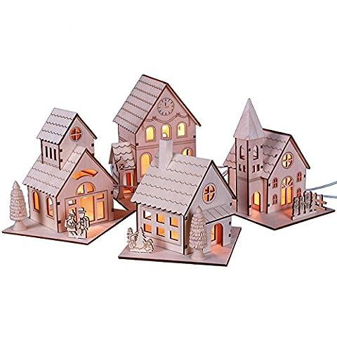Holz-Häuser mit elektr. Beleuchtung, 4 Stück einzeln, natur, gelasert