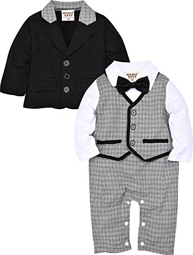ZOEREA 2pcs Säuglingskleinkind Jungen Baby Bodysuit Tuxedo sleeved Trikotanzug Spielanzug Insgesamt Outfit Plaid Striped mit Bowknot Design 80cm(6-9M)Schwarz Sleeved Romper Set