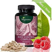 Body Control Complex Vegavero | 120 Kapseln | Grüner Kaffee - Grüner Tee - Cayenne Pfeffer - Himbeer Ketone - Zink | Hochwertige Extrakte | Vegan und OHNE Zusatzstoffe
