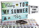 Gadgy ® Cinema LightBox A4 | Mit 4 Hintergründe, 40 Emoji, 6 Wörter, USB Kabel, 85 Schwarze Buchstaben Symbole Zahlen | LED Vintage Kino Leuchtkasten 30x22x5,5 cm | Batterien oder Strom