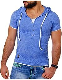 CARISMA Herren Double Look T-Shirt mit Kapuze Slimfit Kontrast Meliert 2in1 Optik