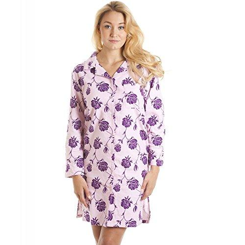 Liquette boutonnée en flanelle - motif floral - rose/violet 42/44