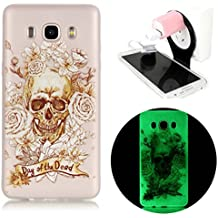 Samsung Galaxy J7 2016 Coque - Vandot Samsung Galaxy J7 2016 TPU Silicone Case Cover Housse de Protection TPU Souple Flexible Transparent Anti Rayure Anti-choc Etui + Plastique de Pliable Suspension Charging Stand Support - Motif Halloween terreur crane