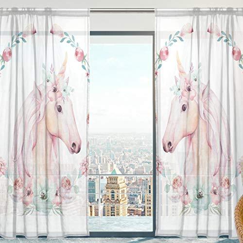 Mnsruu - Cortinas de Gasa Transparentes con diseño de Unicornio y Flores, 140 x 198 cm, 2 Paneles