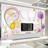 Wandgemälde Benutzerdefinierte Wandbild Tapete Romantische Löwenzahn Schmetterling Blume Floral Relief Große Wandbilder Tapete Für Wohnzimmer Tv Hintergrund,300Cm(H)×500Cm(W)