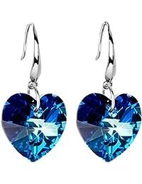 LAMEIDA Pendientes de Cristal Azul Pendientes de Amor Temperamento de Plata para Mujeres Elegantes