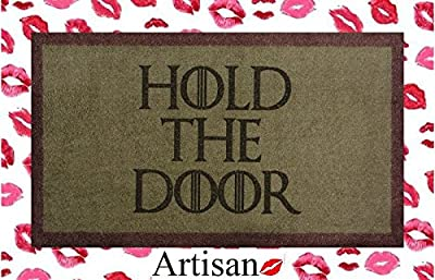 70cm x 40cm Green / Brown Washable Door Mat Game of Thrones HOLD THE DOOR by ARTISAN KISS