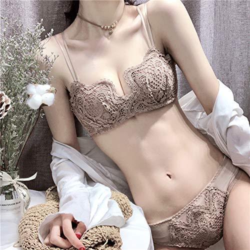 Yanwenkang La Nueva versión coreana reunió la ropa Interior sin anillo de Acero niña pequeña en EL pecho Sujetador cómodo Sujetador opcional Traje café 75B (De Intima Mujer Ropa)