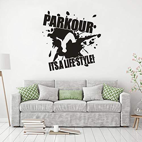 yaoxingfu Vinyl Wandaufkleber Parkour Design Wandtattoo Es ist EIN Lebensstil Zitat PosterWohnkulturExtreme Street Sport Wandbild Ay42x43 cm