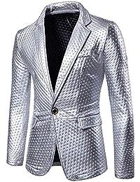 97997b887dca31 Wenyujh' Herren Blazer Sakko Gothic Slim Fit Einknopf Männer Anzugjack  Revers Jacke Smoking Glänzend Wellenpunkt Festlich Party…