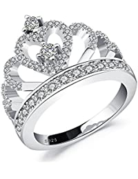 Moneekar Jewels Princess Crown Ring White Gold Plated 925 Sterling Silver Plated Rings For Women Girls