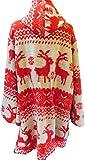 Labass Mantel Winter Wintermantel Jacke Winterjacke Norweger Muster Wolle Rot-wollweissLagenlook Gr. 48-50, 52-54, 56-58 (52-54)