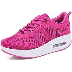 Mujer Zapatillas de Deporte Cuña Zapatos para Correr Plataforma Sneakers con Cordones Calzado de Malla Air Tacón 5cm Negro Rosa Morado Blanco 34-39 Rosa 37