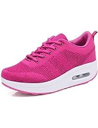 62b396950 Mujer Zapatillas de Deporte Cuña Zapatos para Correr Plataforma Sneakers  con Cordones Calzado de Malla Air Tacón 5cm Negro Rosa…
