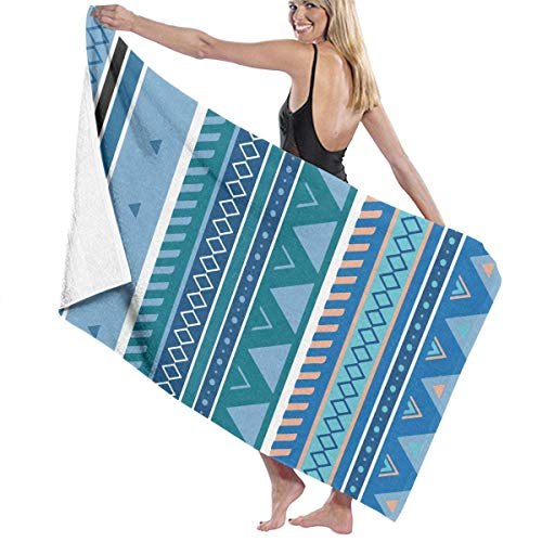 Beach Towels Decor Aztec Stripe Pattern Blue Bath Towels for Bathroom Hotel Spa Kitchen Soft, High Absorbent, Eco-Friendly Printed Bath Towel,Quick Dry 31.5\