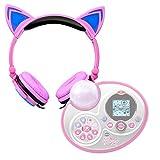 DURAGADGET Auriculares plegables estéreo con diseño de orejas de gato en color rosa para Karaoke...